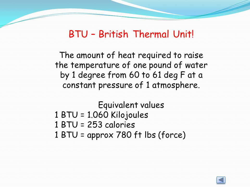 BTU – British Thermal Unit!