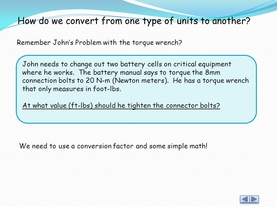 How do we convert from one type of units to another
