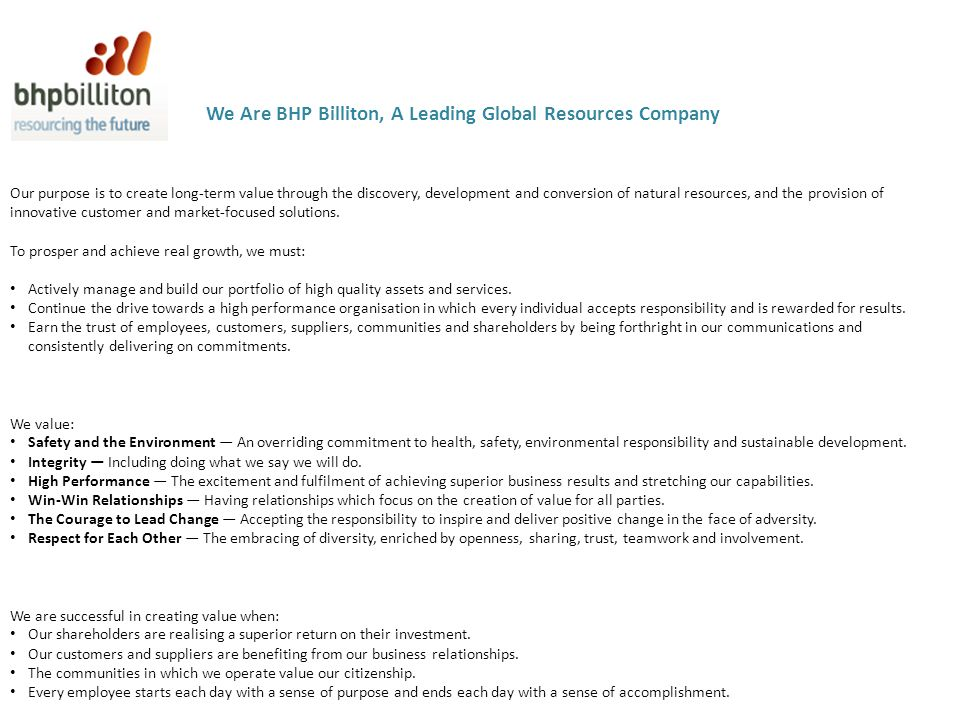 We Are BHP Billiton, A Leading Global Resources Company