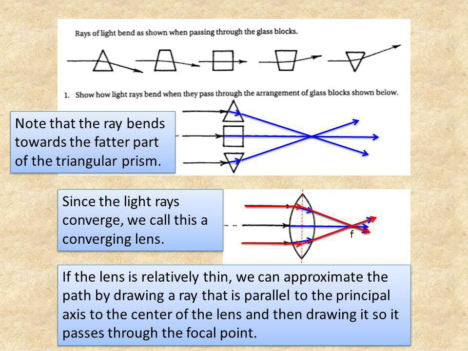 Since the light rays converge, we call this a converging lens.
