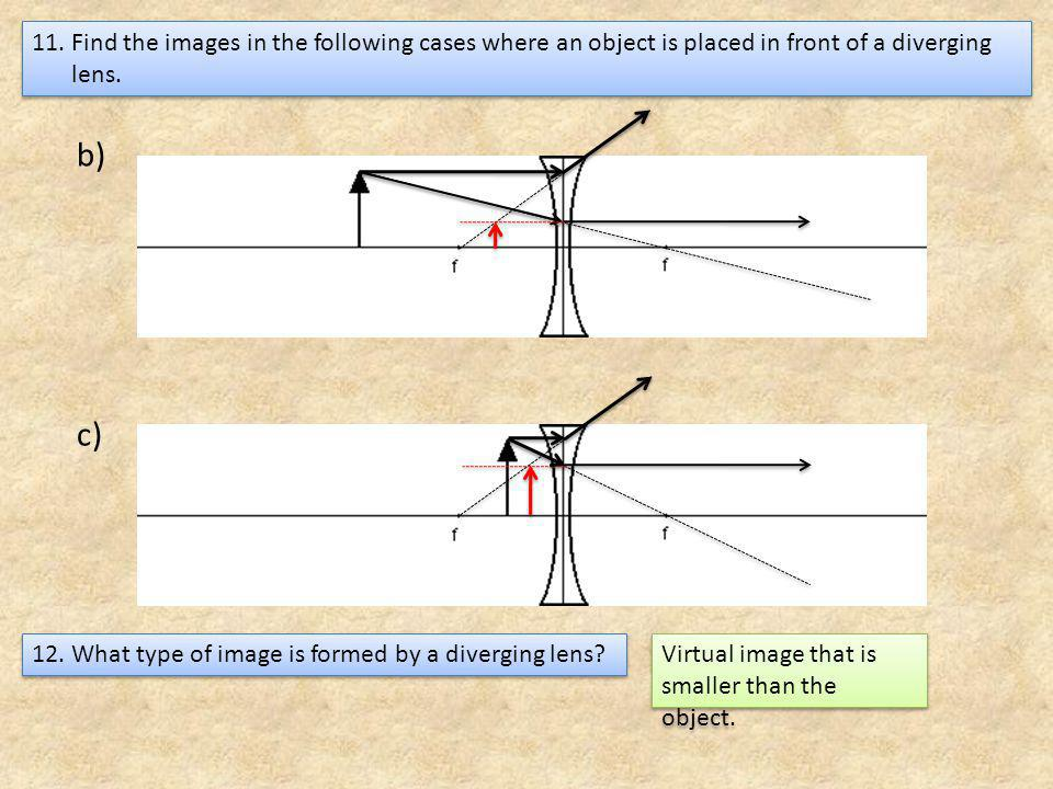 Find the images in the following cases where an object is placed in front of a diverging lens.