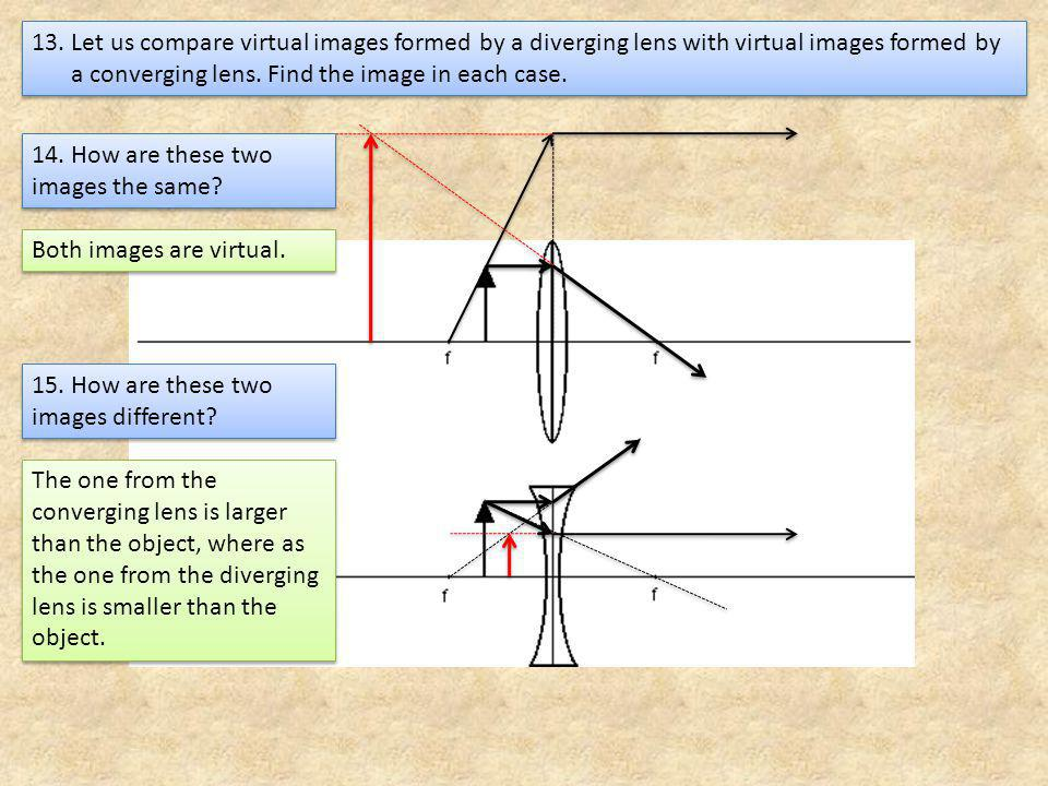 13. Let us compare virtual images formed by a diverging lens with virtual images formed by a converging lens. Find the image in each case.