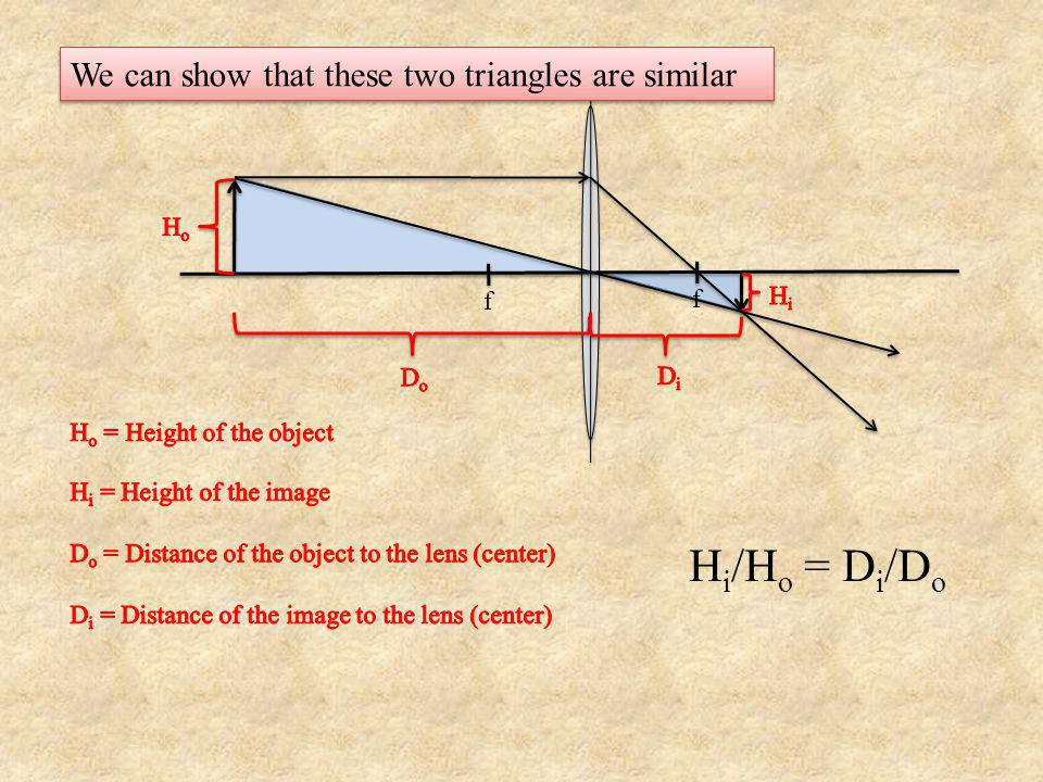 Hi/Ho = Di/Do We can show that these two triangles are similar Ho f Hi