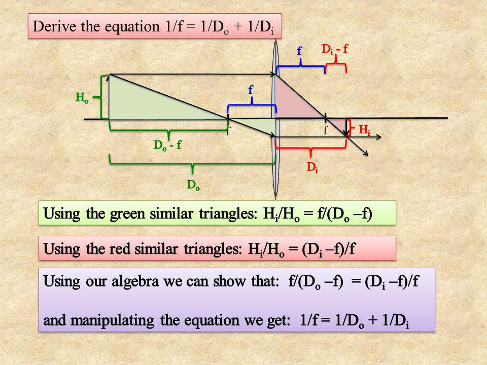 Derive the equation 1/f = 1/Do + 1/Di