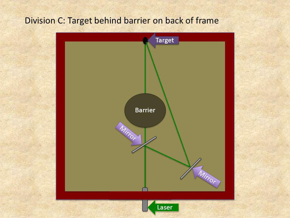 Division C: Target behind barrier on back of frame