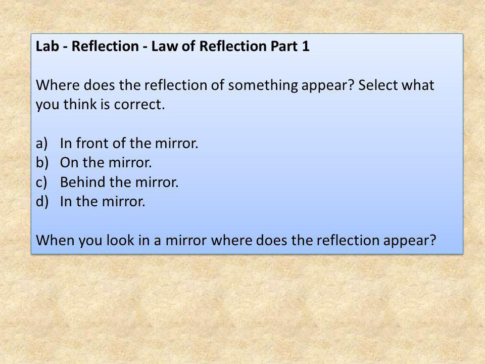 Lab - Reflection - Law of Reflection Part 1