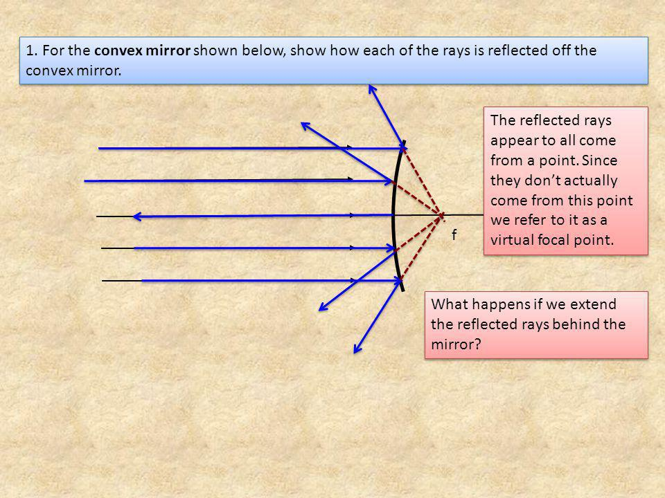1. For the convex mirror shown below, show how each of the rays is reflected off the convex mirror.