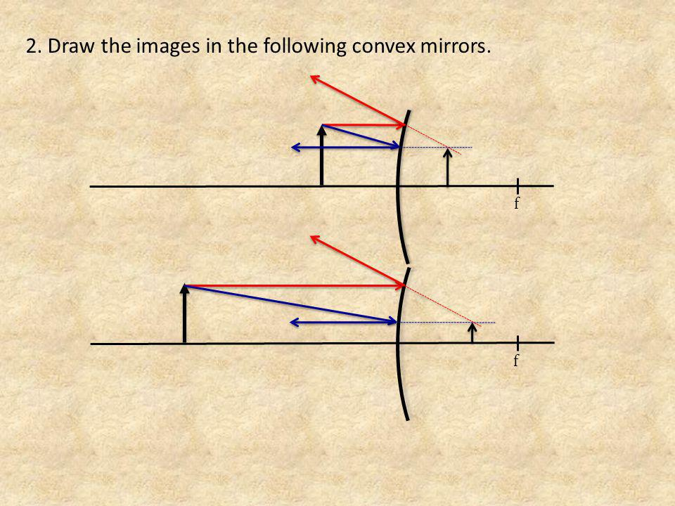 2. Draw the images in the following convex mirrors.