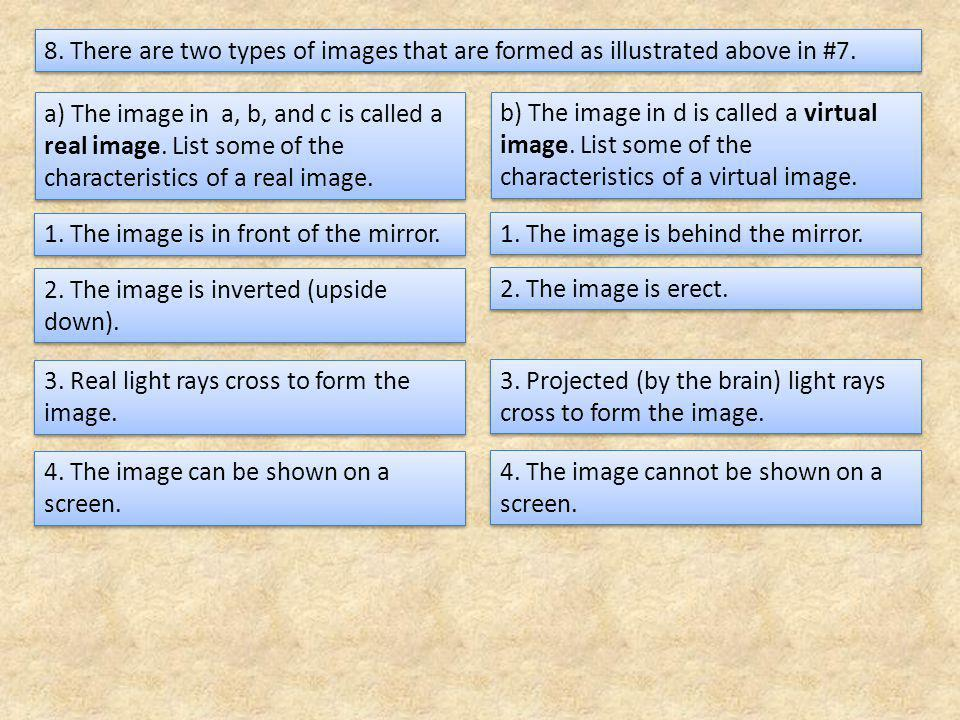 8. There are two types of images that are formed as illustrated above in #7.