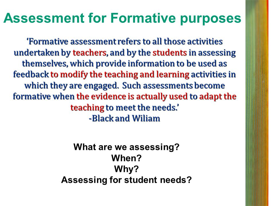 Assessment for Formative purposes