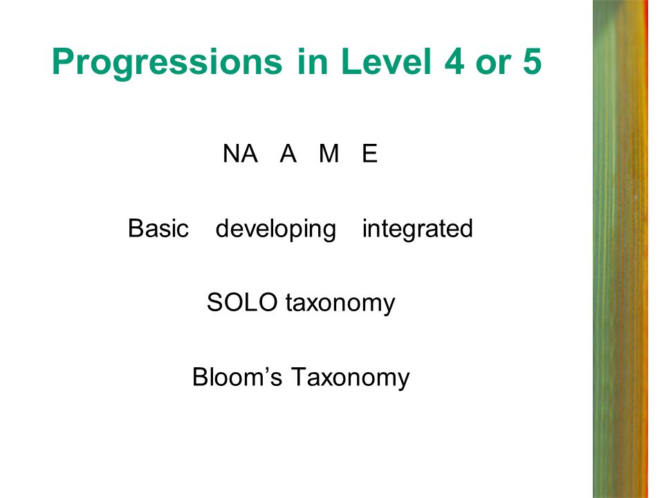 Progressions in Level 4 or 5