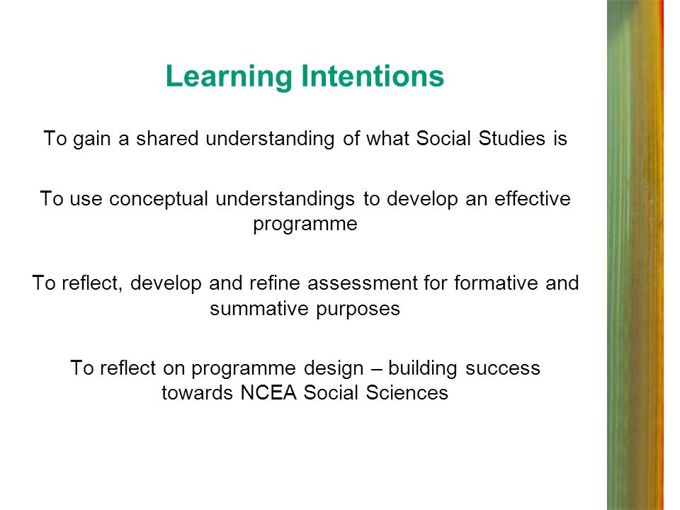 Learning Intentions To gain a shared understanding of what Social Studies is. To use conceptual understandings to develop an effective programme.