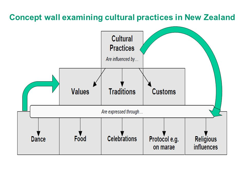 Concept wall examining cultural practices in New Zealand