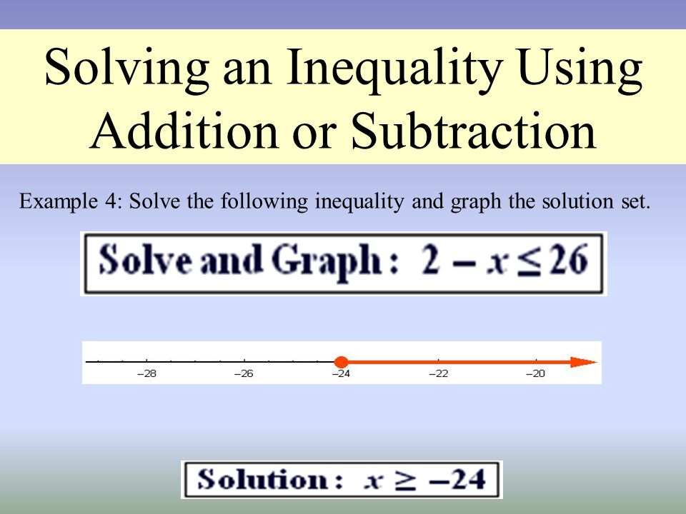 Solving an Inequality Using Addition or Subtraction