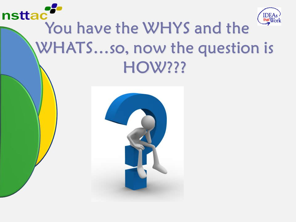 You have the WHYS and the WHATS…so, now the question is HOW