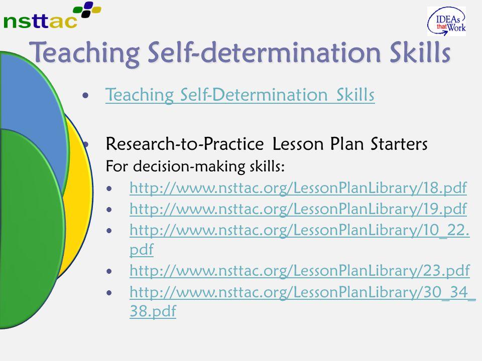 Teaching Self-determination Skills