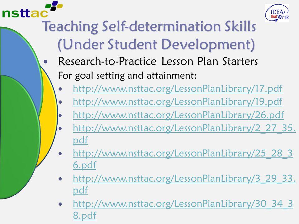 Teaching Self-determination Skills (Under Student Development)
