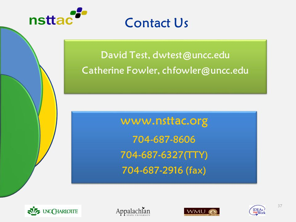 David Test, dwtest@uncc.edu Catherine Fowler, chfowler@uncc.edu