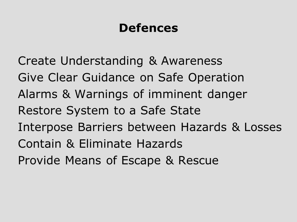 Defences Create Understanding & Awareness. Give Clear Guidance on Safe Operation. Alarms & Warnings of imminent danger.