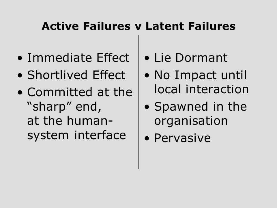 Active Failures v Latent Failures
