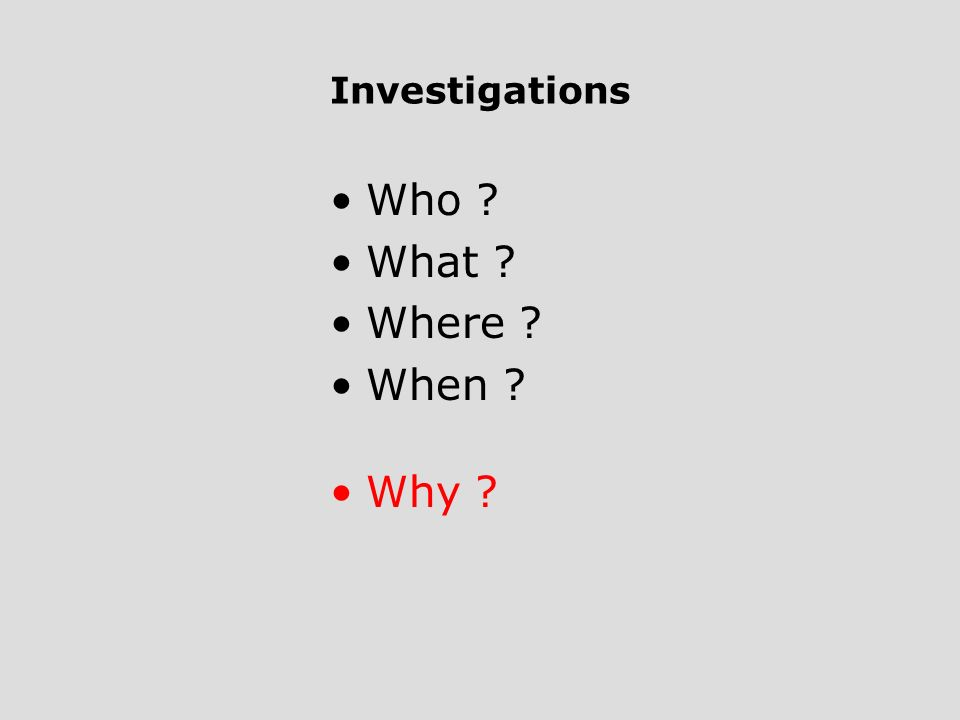 Investigations Who What Where When Why