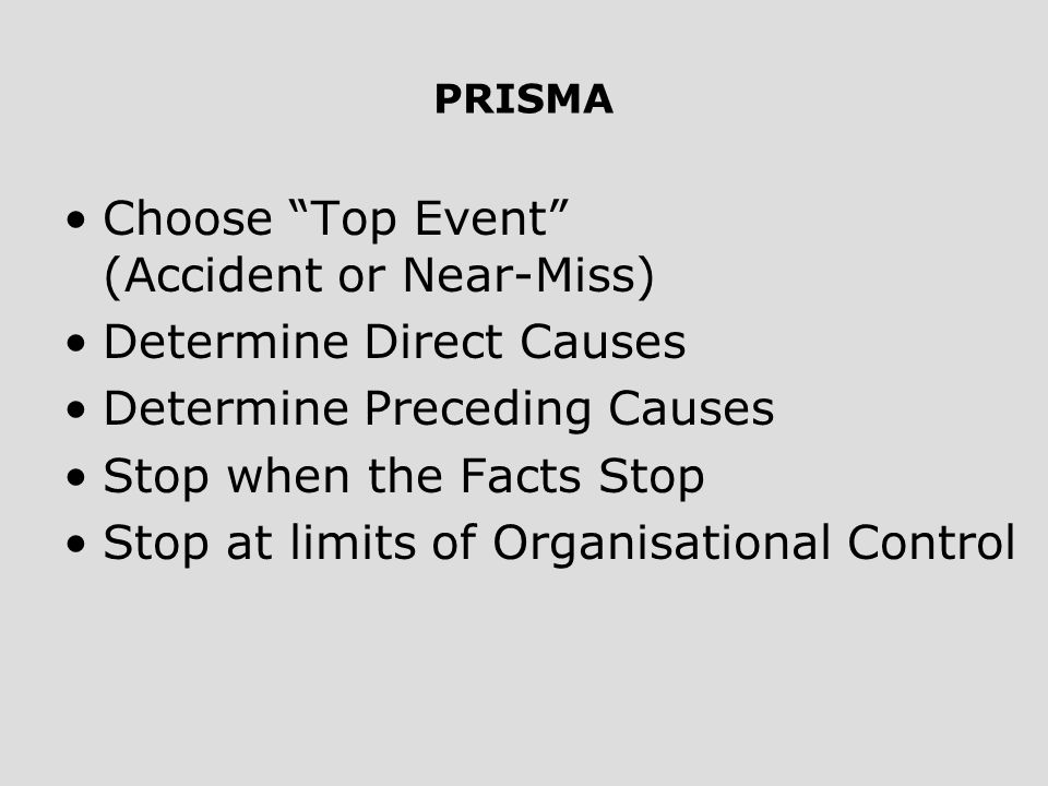 Choose Top Event (Accident or Near-Miss) Determine Direct Causes