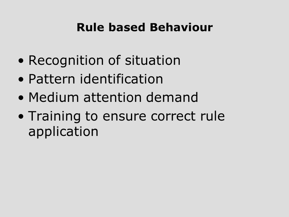 Recognition of situation Pattern identification