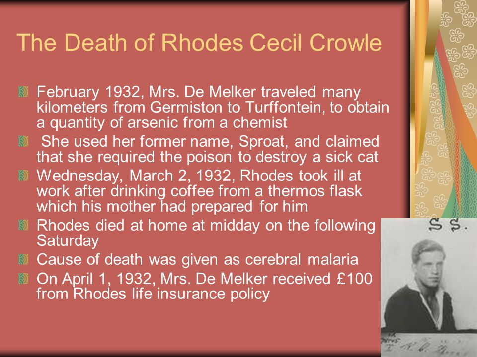 The Death of Rhodes Cecil Crowle