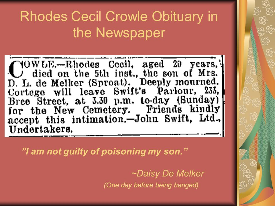 Rhodes Cecil Crowle Obituary in the Newspaper