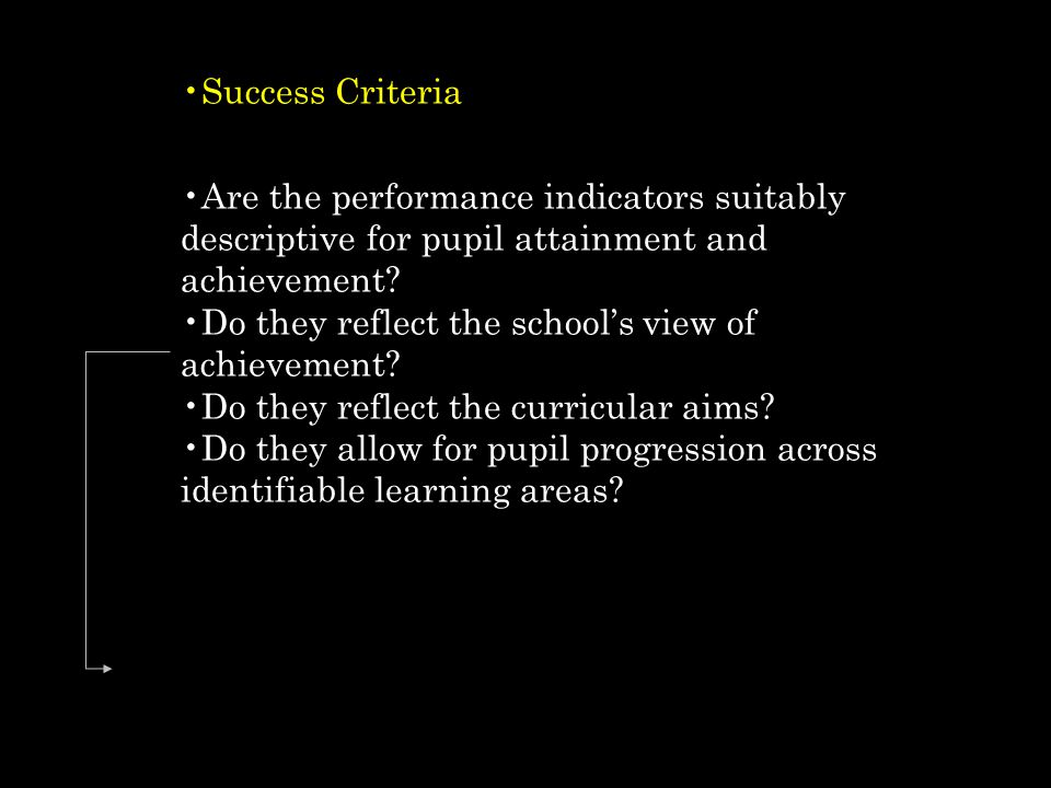 Success Criteria Are the performance indicators suitably descriptive for pupil attainment and achievement