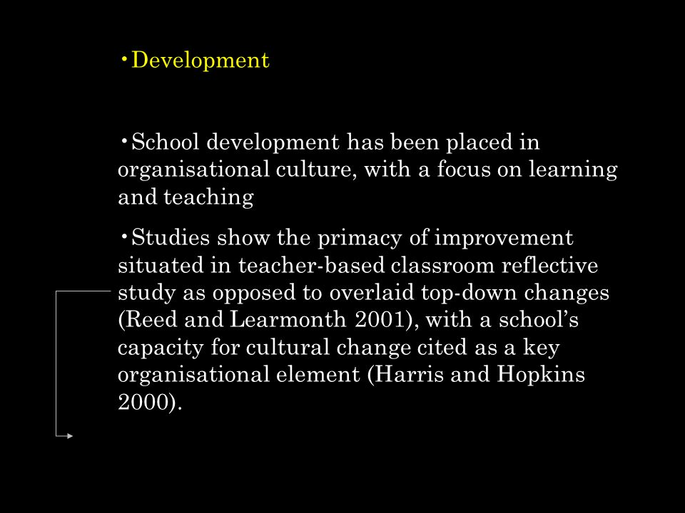 Development School development has been placed in organisational culture, with a focus on learning and teaching.