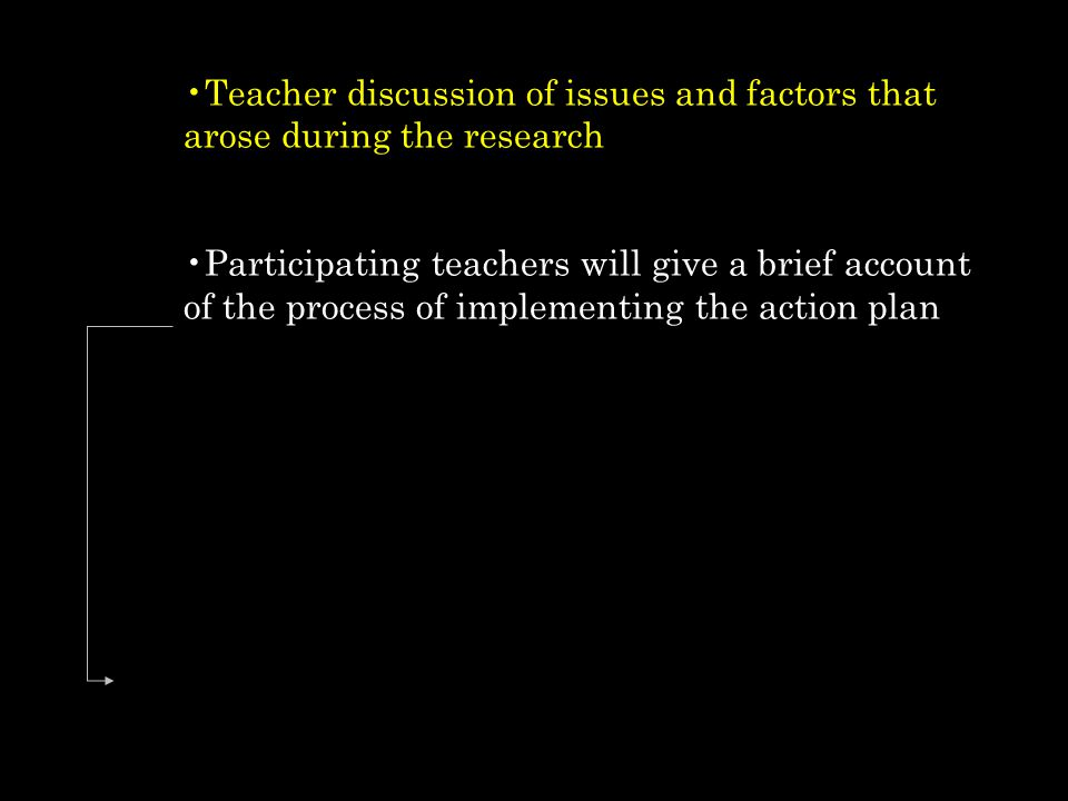 Teacher discussion of issues and factors that arose during the research
