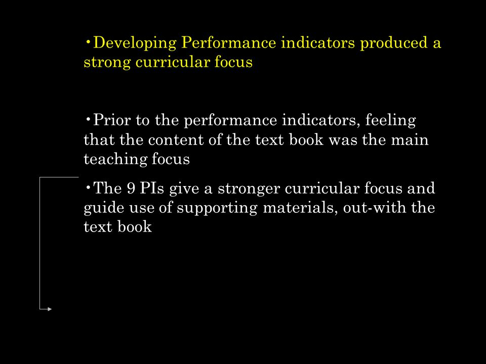 Developing Performance indicators produced a strong curricular focus