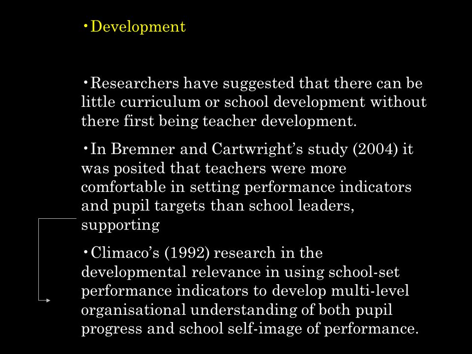 Development Researchers have suggested that there can be little curriculum or school development without there first being teacher development.