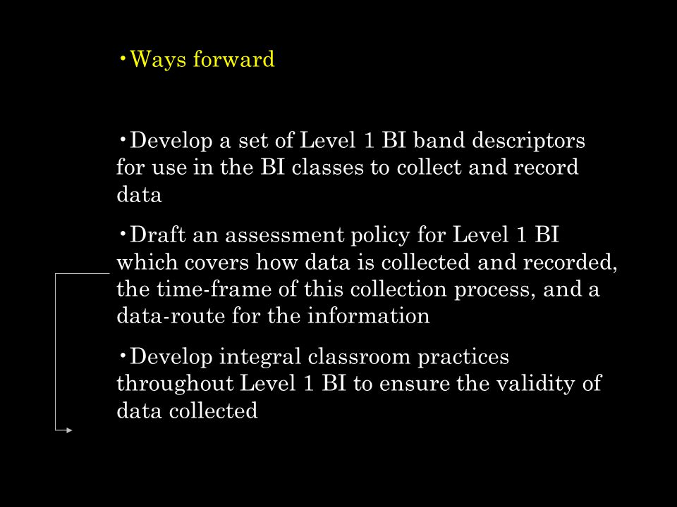 Ways forward Develop a set of Level 1 BI band descriptors for use in the BI classes to collect and record data.