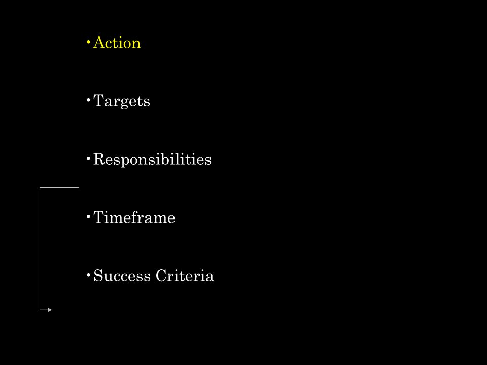 Action Targets Responsibilities Timeframe Success Criteria