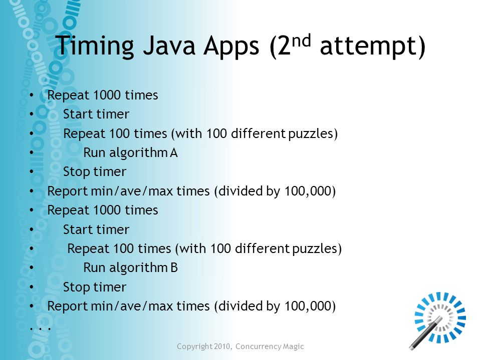 Timing Java Apps (2nd attempt)