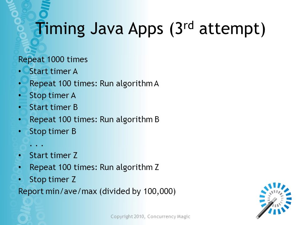 Timing Java Apps (3rd attempt)