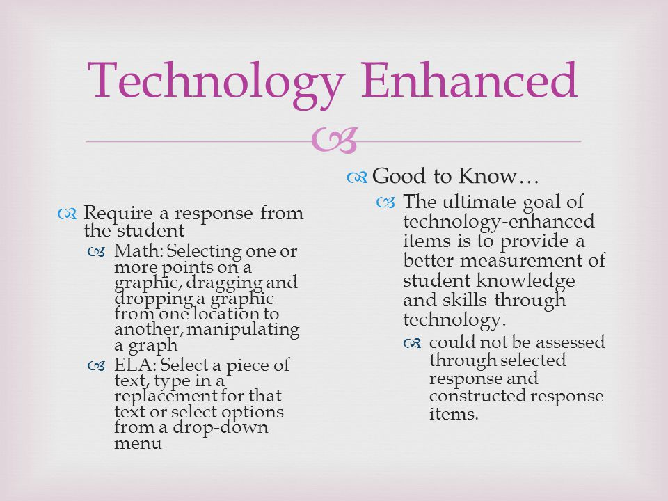 Technology Enhanced Good to Know…