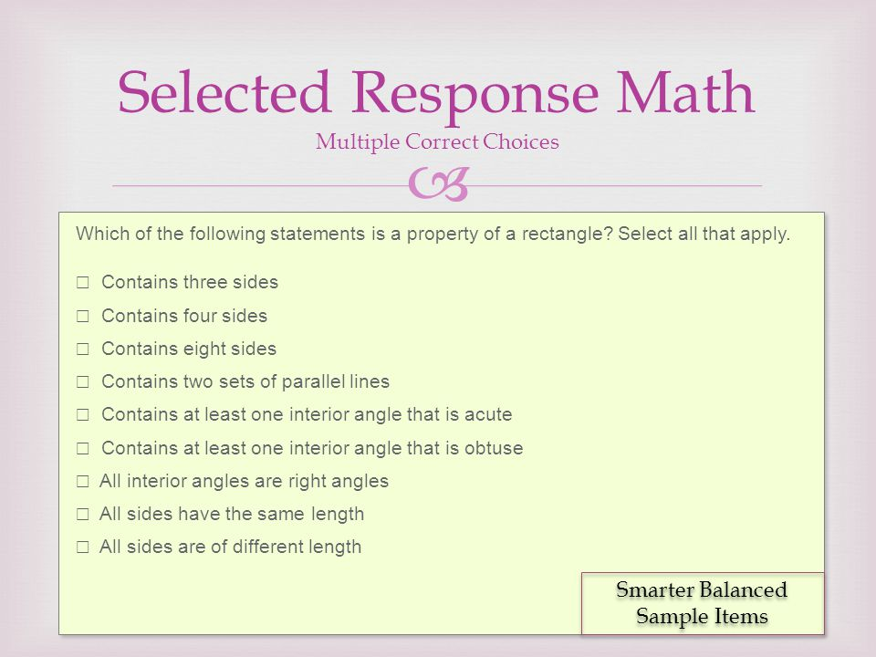 Selected Response Math Multiple Correct Choices