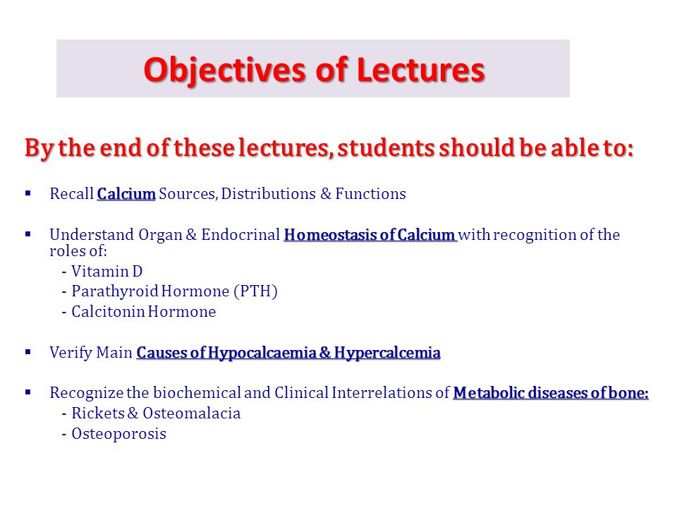 Objectives of Lectures