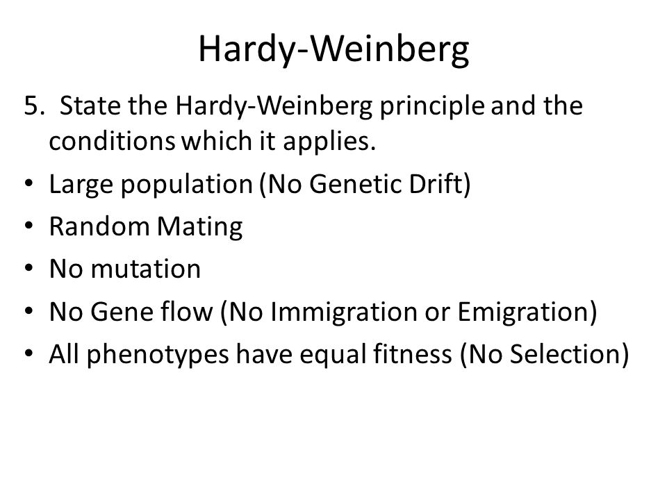 Hardy-Weinberg 5. State the Hardy-Weinberg principle and the conditions which it applies. Large population (No Genetic Drift)