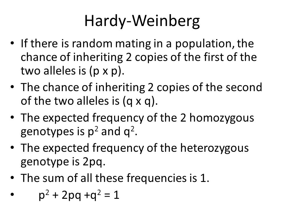 Hardy-Weinberg If there is random mating in a population, the chance of inheriting 2 copies of the first of the two alleles is (p x p).