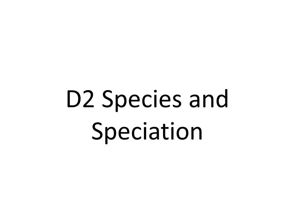 D2 Species and Speciation