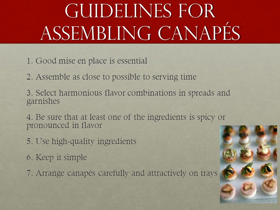 Guidelines for Assembling Canapés