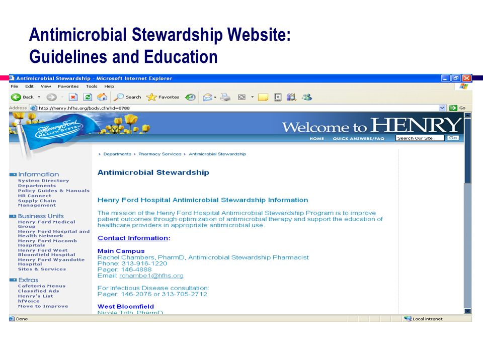 Antimicrobial Stewardship Website: Guidelines and Education