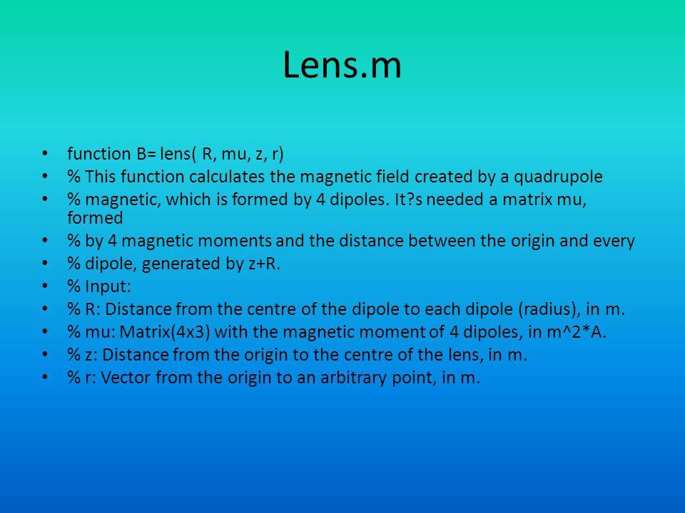 Lens.m function B= lens( R, mu, z, r)