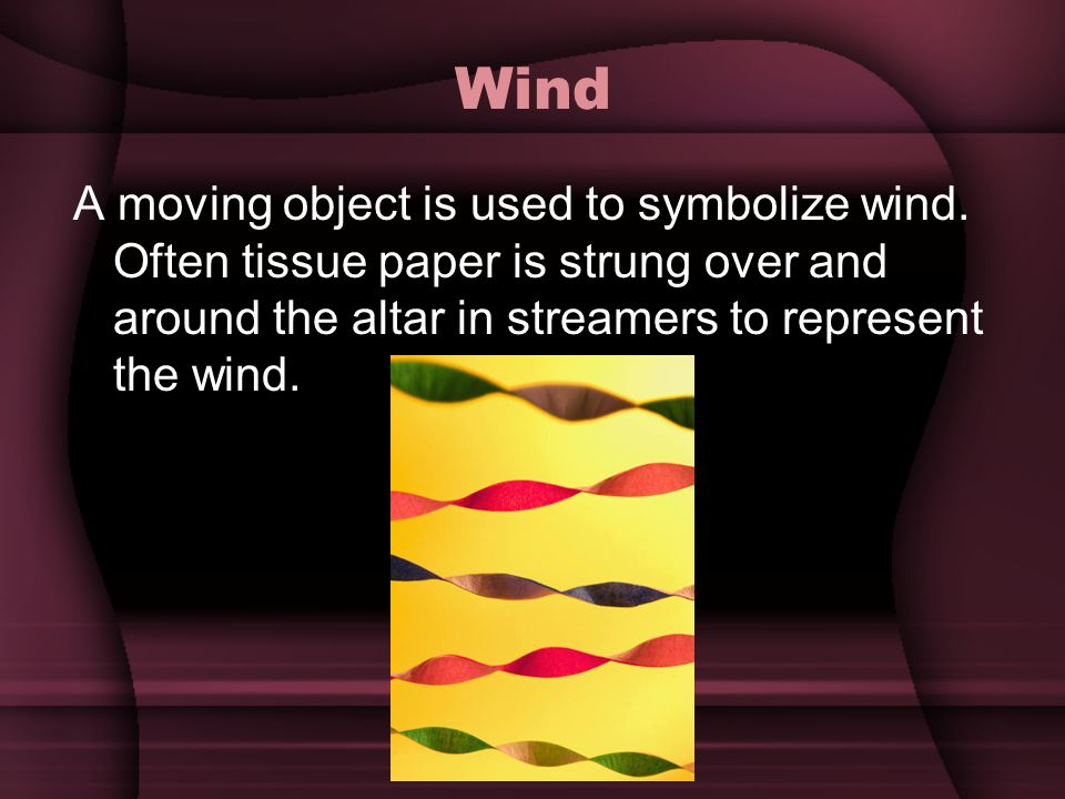 Wind A moving object is used to symbolize wind.