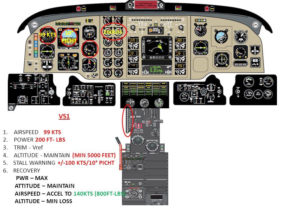 VS1 10° PICHT 200LBS 99 KTS AIRSPEED 99 KTS POWER 200 FT- LBS