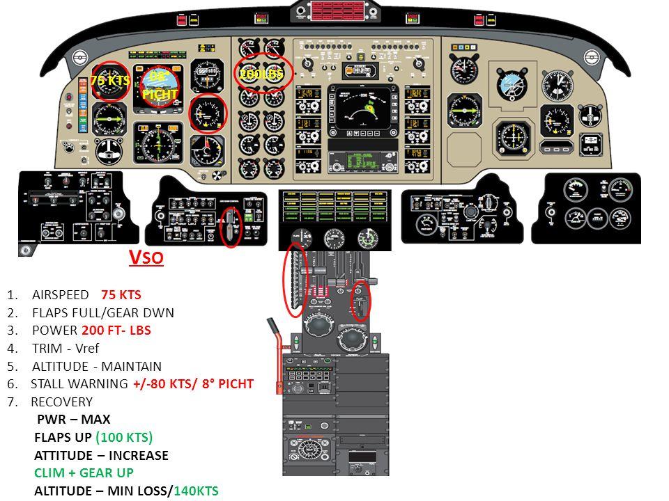 VSO 08° 200LBS 75 KTS PICHT AIRSPEED 75 KTS FLAPS FULL/GEAR DWN